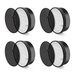 LEVOIT Air Purifier LV-H132 Replacement, True HEPA and Activated Carbon Filters Set, 4 Pack