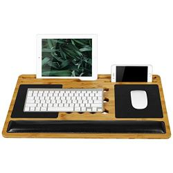 LapGear Bamboard Pro Lap Desk with Wrist Rest, Mouse Pads, and Phone Holder - Fits Up to 17.3 Inch Laptops and Most Tablet Devices - Style No. 77101