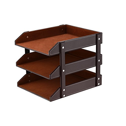 Leather Desk Organizer, Thipoten 3-Tier Stackable Letter Tray Holder