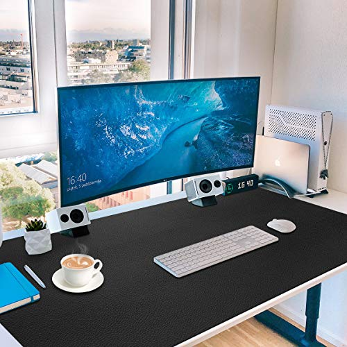 "Leather Desk Pad Large,36"" x 20"",Gaming Mouse,Extended Blotter Protector,Toneseas Premium Writing Mat,Durable,Water Resistant,Oil-Proof,Dust-Proof,Easy to Clean for Computer,Keyboard,Office Supplies"