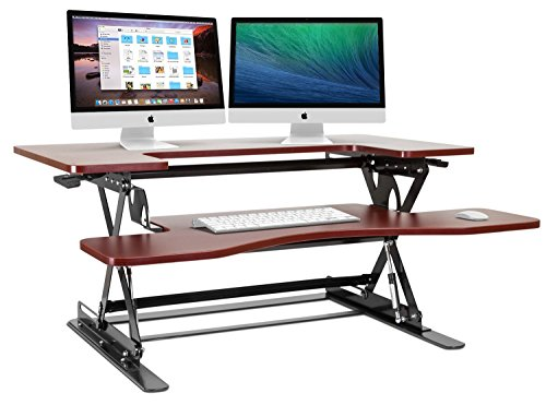 Halter Cherry Height Adjustable 36 Inch Stand Up Desk Preassembled Sit