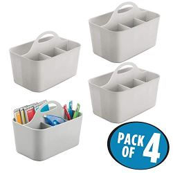 mDesign Small Office Storage Organizer Utility Tote Caddy Holder with Handle for Cabinets, Desks, Workspaces - Holds Desktop Office Supplies, Gel Pens, Pencils, Markers, Staplers - 4 Pack - Light Gray