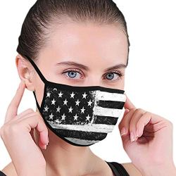 Soft Face Masks Earloop Anti Allergy Half Face Mouth Mask for Pollen Smog Surgical Climbing, Women Men Kids - Anti Pollution (Black and White American Flag Mouth Mask)