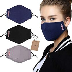 Dust Mask,Aniwon 3 Pack Anti Dust Pollution Mask with 6 Pcs Activated Carbon Filter Insert Washable Cotton Mouth Mask with Adjustable Straps