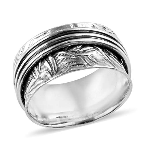 Shop LC Delivering Joy Stress Relieving Meditation Oxidized Spinner Ring 925 Sterling Silver Boho Handmade Jewelry Gift for Women
