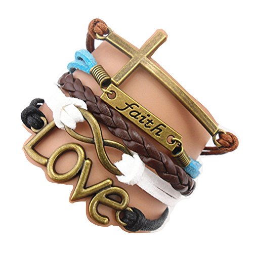 Ac Union ACUNION Handmade Infinity Cross Faith Love Charm Friendship Gift Fashion Jewelry Personalized Leather Bracelet