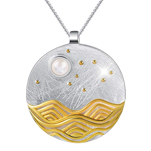 Lotus Fun S925 Sterling Silver Necklace Pendant Moonlight on The Sea Pendant with Link Chain Length 17inches, Handmade Jewelry Gift for Women and Girls (Silver)