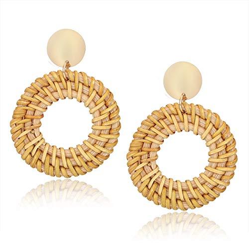 CEALXHENY Rattan Earrings for Women Handmade Straw Wicker Braid Drop Dangle Earrings Lightweight Geometric Statement Earrings for Girls (A Round)