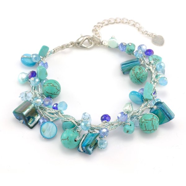 "Chuvora Silk Thread Aqua Blue Mother of Pearl Shell Freshwater Pearl Turquoise Handmade Bracelet 7""-9"""