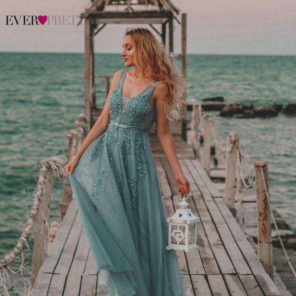 Neck Lace Applique Formal Wedding Party Dress