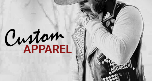 Cropped image of many wearing custom leather vest with the words custom apparel