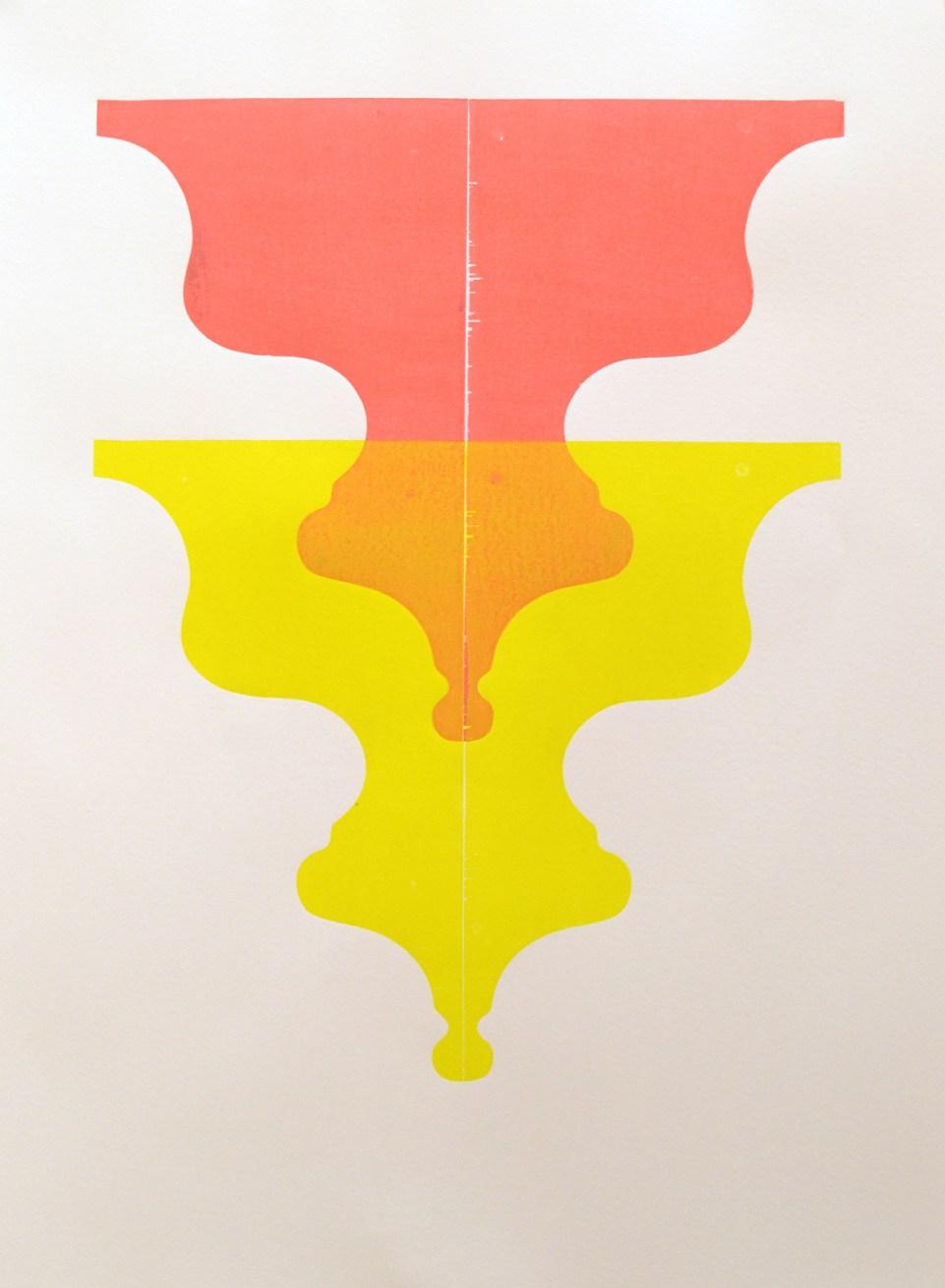 "untitled (Red/Yellow/Orange study) wood block print on Rives BFK 30 x 22"" 2017"