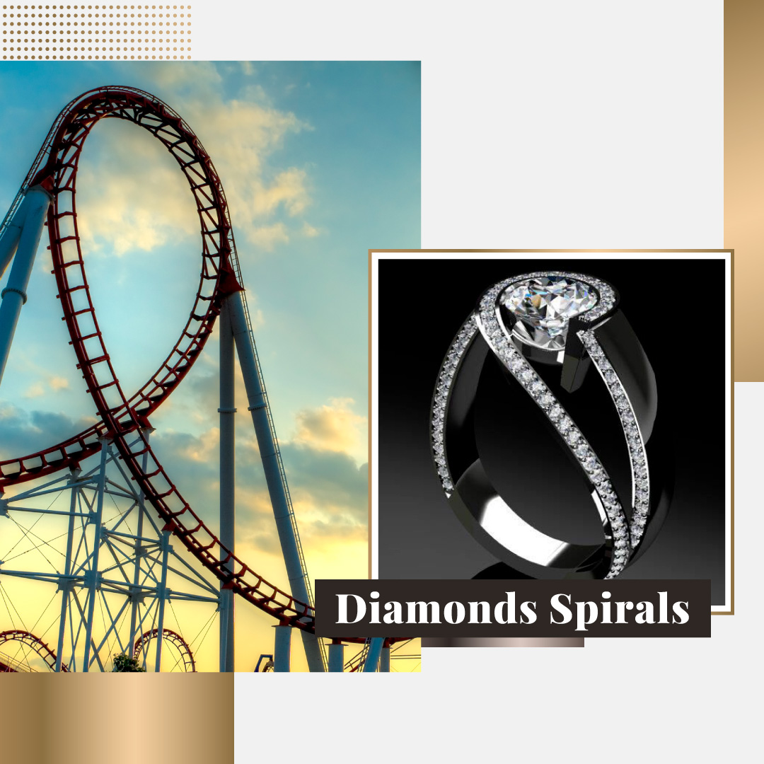 diamonds spirals engagement ring