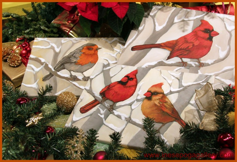 especially red and golden birds or a festive holiday scene - A Golden Christmas 2