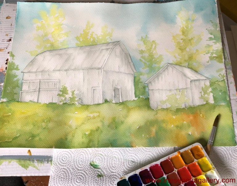 Watercolor techniques barn painting