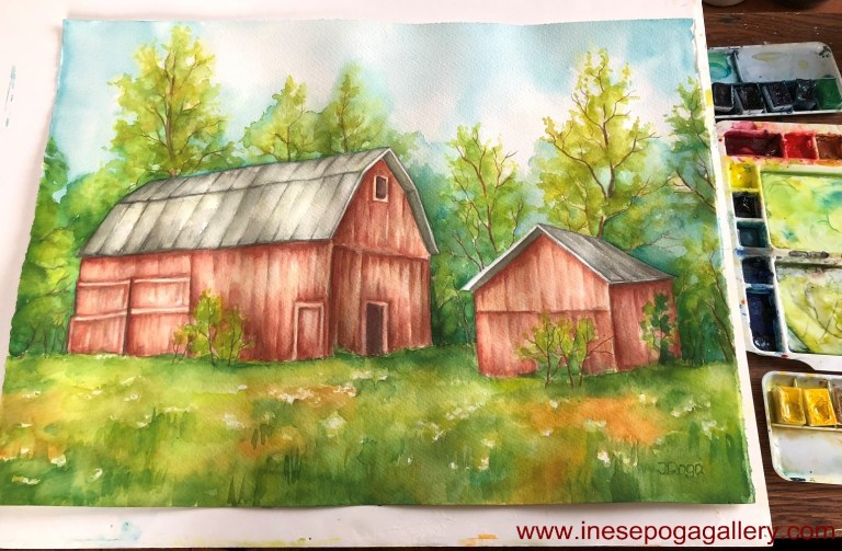 art classes: barn watercolor