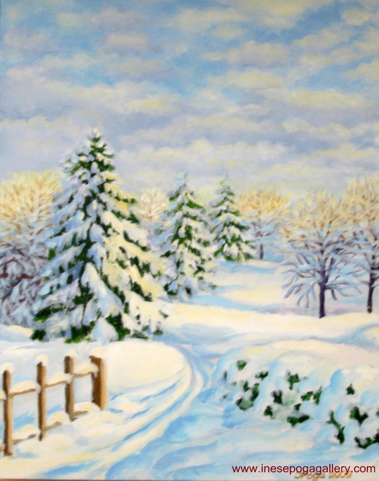 Winter wonderland, acrylic painting 16 x 20 inches