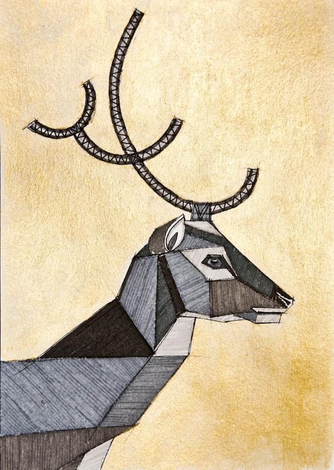Art deco deer by Inessa Demidova
