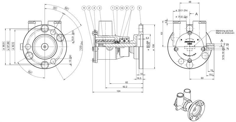 Johnson Pump 10-24930-01 Extra Flow Raw Water Pump F6B-9