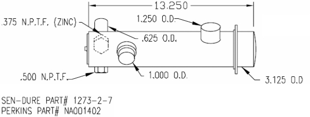 SK PER NA001402 CN Perkins Heat Exchanger 4-107 by Seakamp
