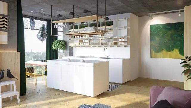 industrial kitchen stools banquette 开放式厨房搁置 40个优雅的例子 展示不同的厨房设计 腾讯网 通过更换不同钻孔中的搁板架 可以轻松移动 它们拥有一系列的装饰 不是简单的锅碗瓢盆 在厨房的钟表中 工业风格的照明钻石和凳子腿模仿他们的线条
