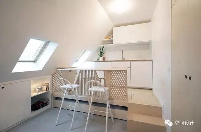 high top kitchen table set trendy wallpaper 15平阁楼重新改造 拥有50平的既视感 厨房客厅独立卫浴一应俱全 640