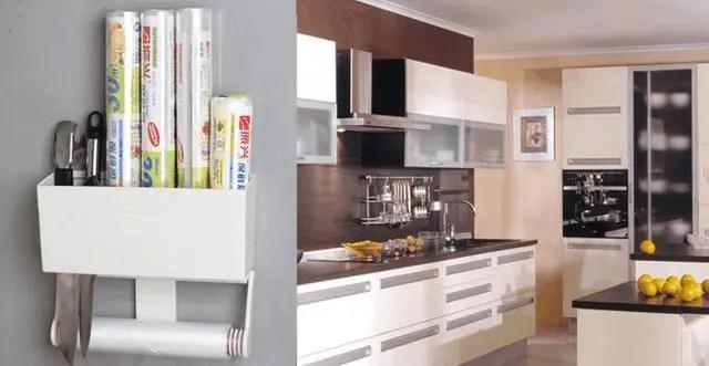 tall kitchen bags corner shelving unit 利用收纳架巧整理 小空间也大有作为 腾讯网 上层置物盒可以收纳五个标准尺寸的保鲜膜或者密封袋盒子 下层的纸巾架可用来收纳厨房餐巾纸 使用非常方便