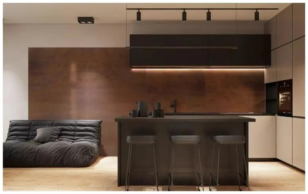 kitchen island with bar black and white table 44平方米的装修不比住在这样的大房子里差 厨房岛充当桌子和酒吧 餐椅也是简单的酒吧凳子