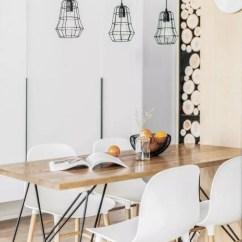 Kitchen Table Storage Gray Chairs 北欧这样设计 太美了 厨房存储空间较小 于是我们在餐厅空间增加了一个可三面开的高柜 并与餐桌融合做了整体设计 高柜实用又美观