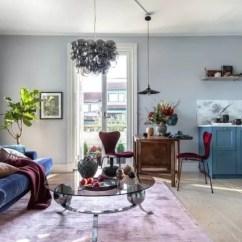 Burgundy Kitchen Decor Mobile Kitchens For Sale 蓝色 勃艮第红 北欧47平米小公寓 图片