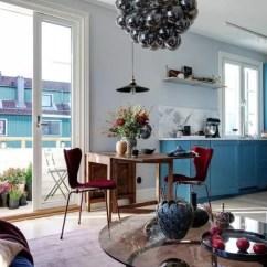 Burgundy Kitchen Decor Best Drain Cleaner For Sink 蓝色 勃艮第红 北欧47平米小公寓 平面图