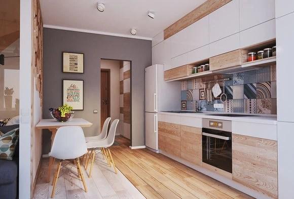 colorful kitchen rugs garbage can 60平米北欧风规划太棒 给你一个温柔多彩的家 与客厅一墙之隔的对面就是餐厨区域了 用地板作为两个区域的分隔 既区域分明又充满特色 一字型的厨房区域干净整洁 各种用品收纳合理有序 厨房活动十分方便