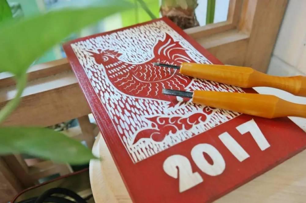 雕刻時光,2017雞祥如意木刻畫