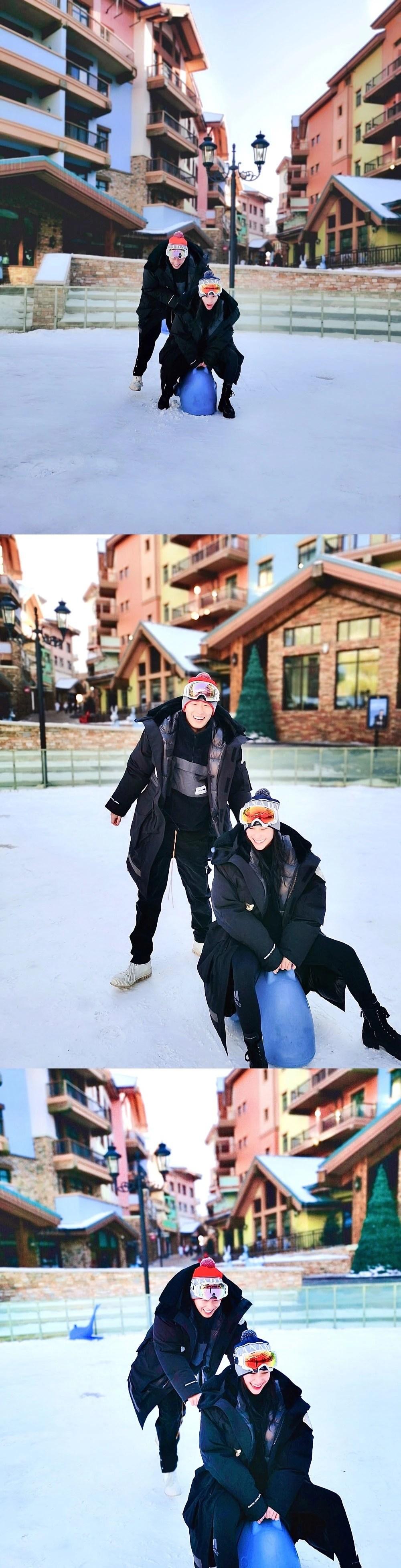 何超蓮與竇驍一起去崇禮滑雪游玩,曬合照倆人滑雪玩雪牽手太幸福_騰訊新聞