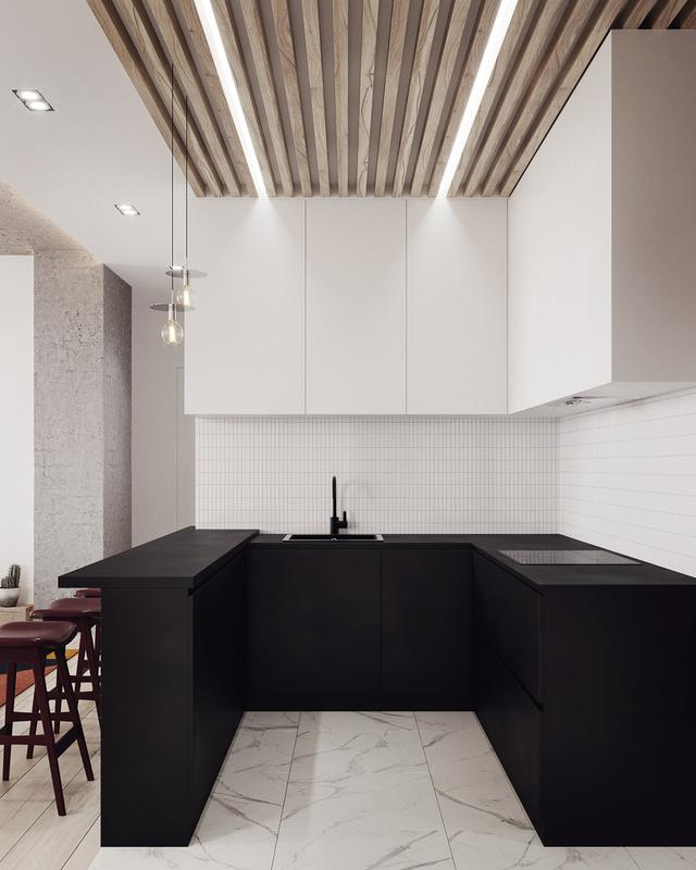 burgundy kitchen decor dinettes 室内设计 柔和的斯坎迪装饰风格 天天快报 厨房里的酒吧凳子与一个基本的黑色u型厨房布局相比 几乎呈现出勃艮第式的光泽 白色的壁柜和白色的大理石墙砖 与黑色的大理石台形成了鲜明的对比