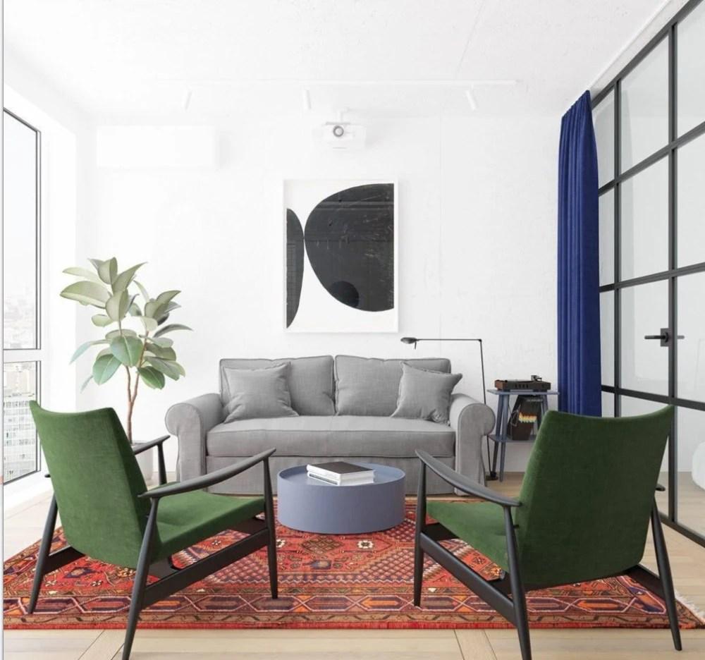 colorful kitchen rugs sink base cabinet with drawers 多彩新型北欧风单身公寓 充满创意与艺术感的独特设计 腾讯网 浅灰色的布艺沙发更是融入了北欧风情的氛围之中 绿色座椅与充满风情的波西米亚地毯 更令客厅充满艺术气息