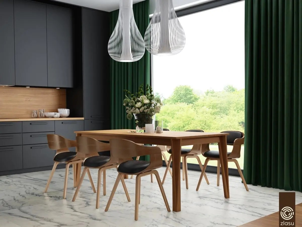 black kitchen table and chairs moen soap dispenser 室内设计 33个黑色餐厅 天天快报 黑色的餐桌椅在坚实的黑色厨房里几乎看不见了 但三个黄色的吊灯和一个浅色的木质桌面在用餐区留下了鲜明的印记