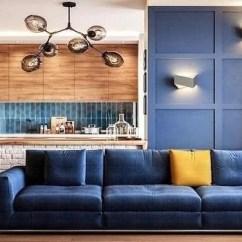White Kitchen Island Cart French Lace Curtains 40平小户型空间 北欧风装修明亮又宽敞 天天快报 以中岛和一面蓝色造型背景墙隔开客厅和厨房 以白色文化石装饰中岛 清爽简约 右侧的大面积窗户正好提供良好采光