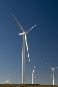 A wind turbine farm