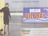 Brian Bilbray for Congress reported paying $25,000 for more than two dozen ads. (click to see full ad)