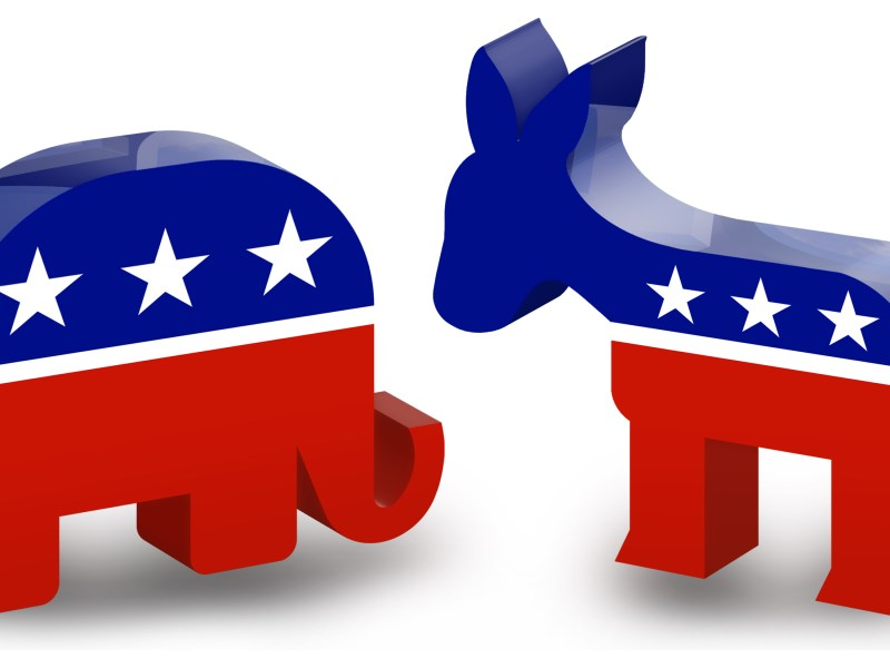 GOP and Democratic logos