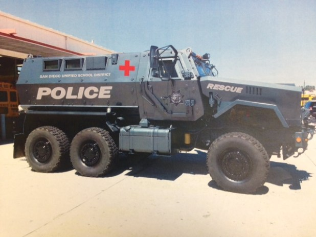 A photo of the 2013 Caiman MRAP acquired by the San Diego Unified School District Police Department. The decals have been digitally rendered onto the vehicle. Courtesy: San Diego Unified School District.