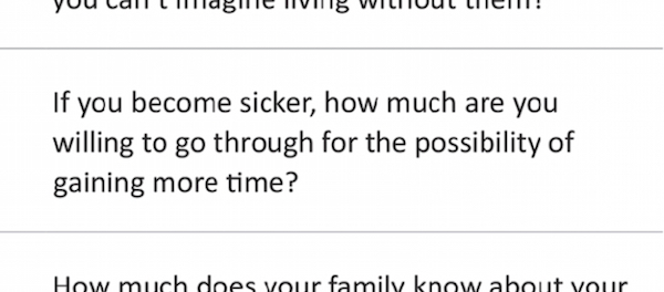 One of the questions on the conversation guide.