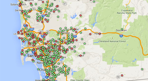 Map: San Diego County Kindergarten Vaccination Rates 2014-2015