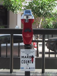 The Downtown San Diego Partnership's donation meters accept coin and credit card payments. Chris Young, inewsource