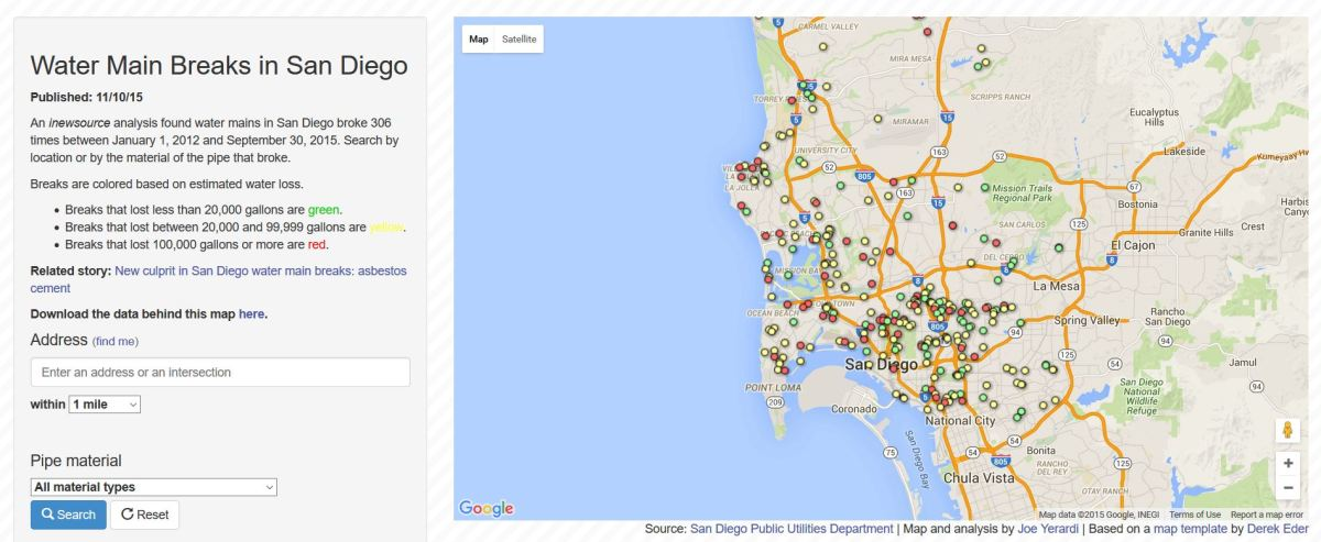 Interactive map: click here to search water main breaks in San Diego.