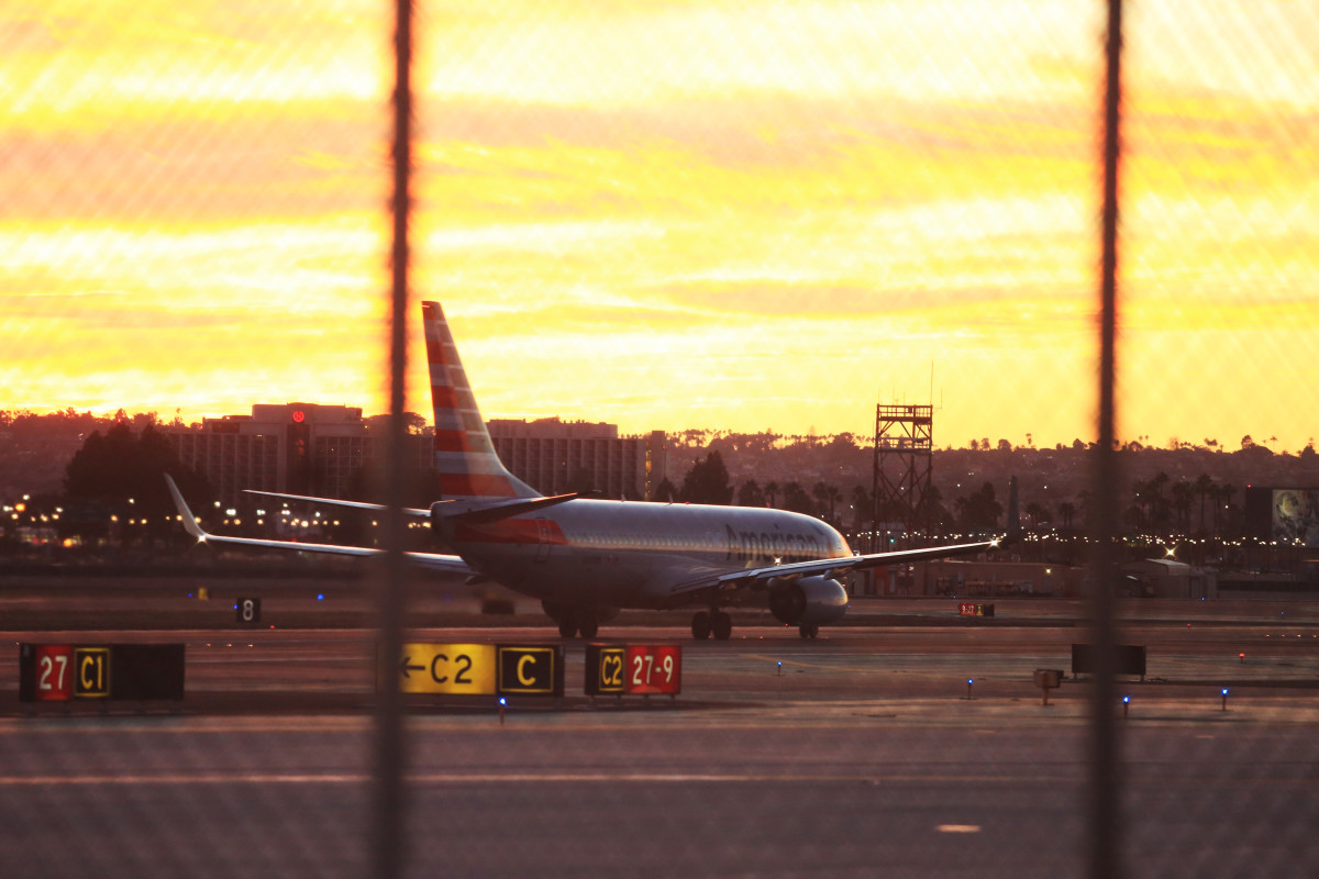 The San Diego International Airport is shown at sunset in this 2015 file photo. (Megan Wood/inewsource)