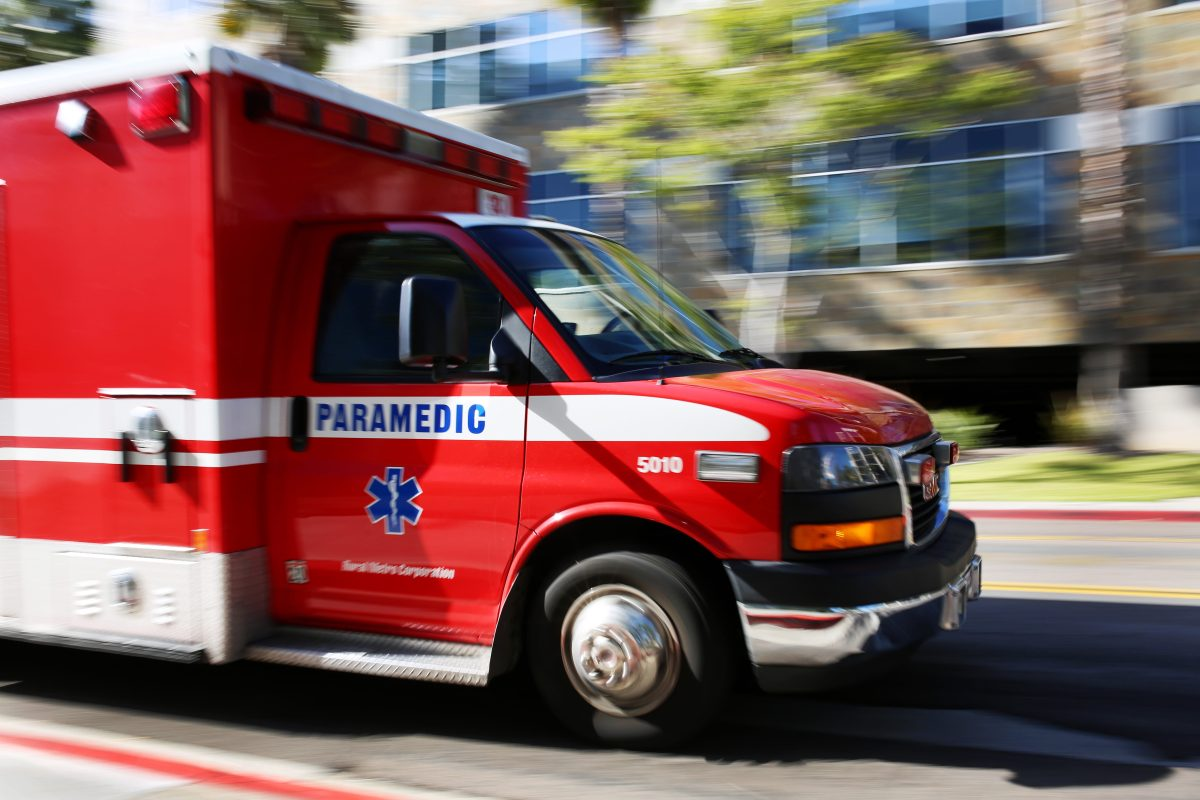 An ambulance transports a patient to the Rady Children's Hospital Emergency Department in San Diego on March 27, 2016. Megan Wood, inewsource.