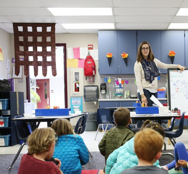 Student teacher Elisse Bevilacqua teaches a class inside a portable at Skyline Elementary in the Solana Beach School District. Solana Beach has a new bond measure before voters. April 12, 2016. Megan Wood, inewsource