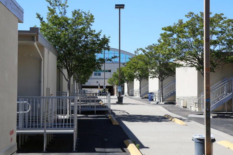 More than 30 portable classrooms sit in the back parking lot of Scripps Ranch High School in this undated photo. Megan Wood, inewsource